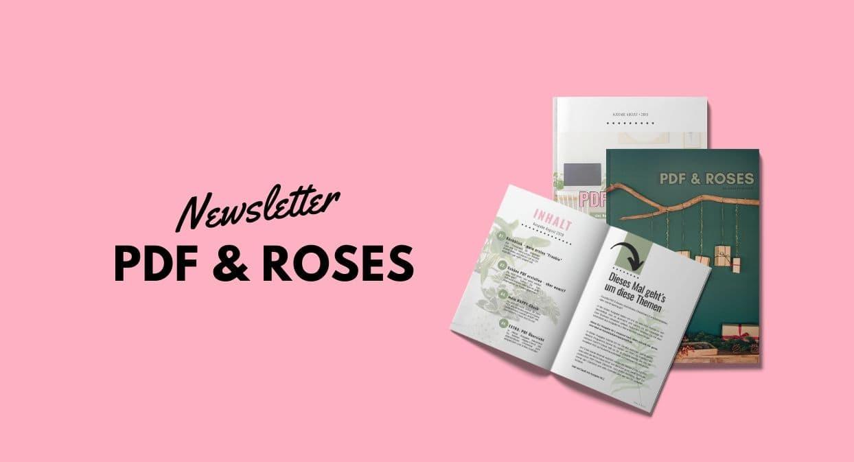 Newsletter Magazin PDF and Roses - Magazin-Cover und aufgeschlagenes Magazin